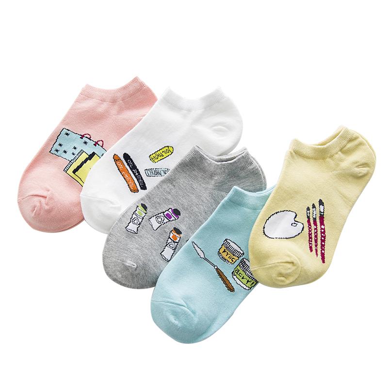 袜子女士韩版船袜韩国女短袜纯色棉中筒袜学院风浅口春夏款隐形袜
