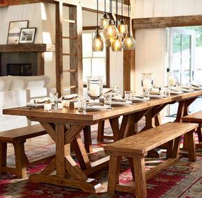 全实木复古田园餐桌椅组合休闲酒吧咖啡馆餐厅高端长桌椅做旧长凳