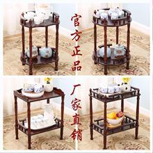 实木小茶几棋牌室麻将桌茶楼茶水架双层置物架沙发边几角几电话架