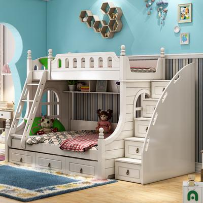 儿童房家具组合套装女孩上下床双层公主欧式双人子母床实木高低床十大品牌