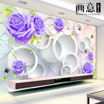 无缝大型壁画中式唐韵客厅电视背景墙壁纸卧室立体无纺布墙纸3d