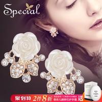 Special欧美花朵耳钉女气质耳环S925银针耳饰无耳洞耳夹蔷薇之城