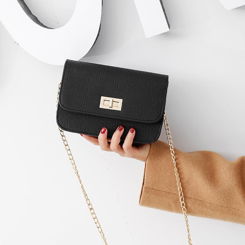 包包2019韩版新款chic链条小方包单肩斜挎包时尚锁扣女包迷你小包图片