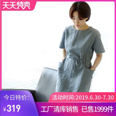 欧迪优雅棉麻连衣裙 2019夏季新款文艺亚麻女大码短袖H型裙子1704