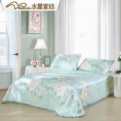 水星家纺冰丝席床单式凉席三件套1.8米床席子双人1.5m仲夏之蓝