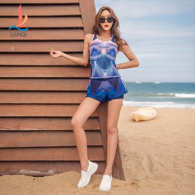 三奇泳衣女分体平角裤性感保守韩国显瘦遮肚学生大码女士温泉泳装