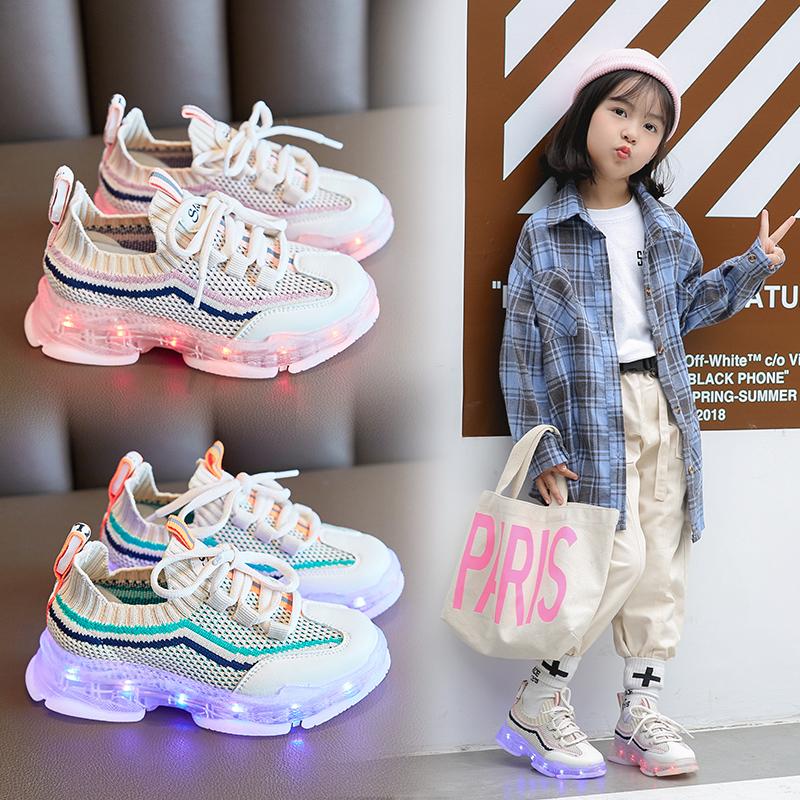 女童运动鞋2019新款秋季儿童针织透气休闲鞋子男童宝宝发光老爹鞋