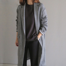 Spring and Summer Long Linen Suit Women's Korean Version Loose One Button Sunscreen Windswear Leisure Large Cotton and Linen Coat Thin