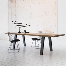 复古工业风实木餐桌LOFT北欧办公桌会议桌现代简约铁艺餐桌长桌