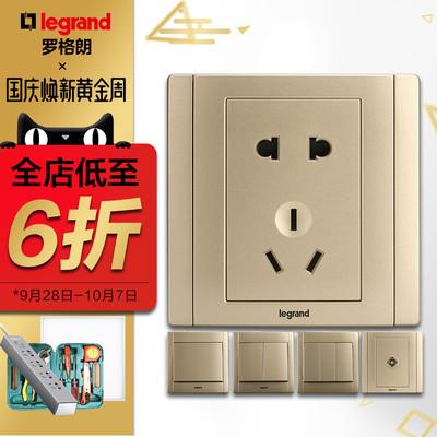罗格朗tcl开关插座面板美涵烁金色5五孔二三插墙壁电源暗装86型i