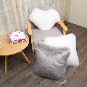 欧式仿羊毛长毛抱枕沙发靠垫纯色抱枕套办公室大靠垫床头靠枕含芯