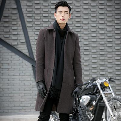 特价清仓韩版修身中长款羊毛呢大衣男士冬季外套英伦呢子风衣潮流
