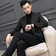 男士西服套装两件套青年韩版结婚正装单西外套修身休闲条纹小西装