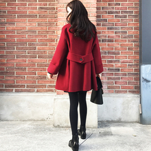 Fall and Winter 2018 New Korean Style Double-breasted Red Fabric Overcoat Women's Small Loose Wool Overcoat