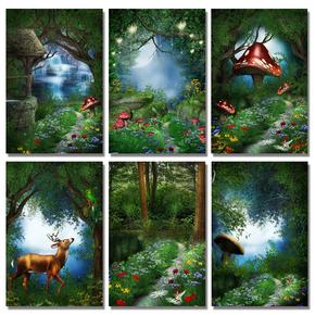 童话魔幻神奇世界奇幻森林场景风景哥特风格无框装饰画挂画壁画