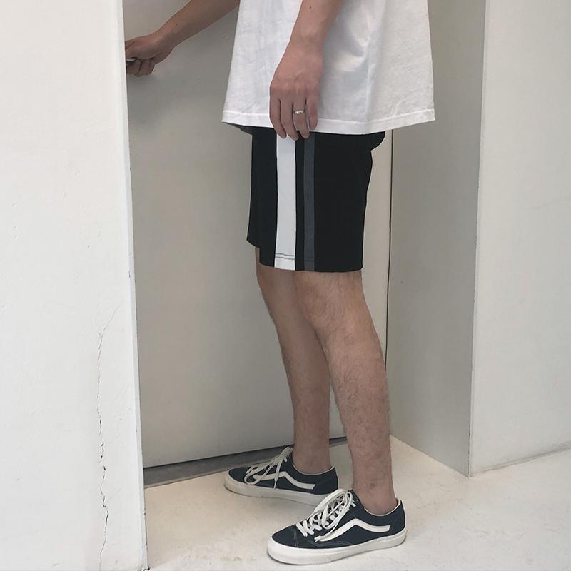 方寸先生 新款夏季男生中裤 韩版撞色拼接短裤抽绳休闲运动短裤男