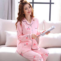 Pajamas female summer suits month clothes home service long-sleeved cardigan Korean version of the cute sexy large size casual thin section bathrobe
