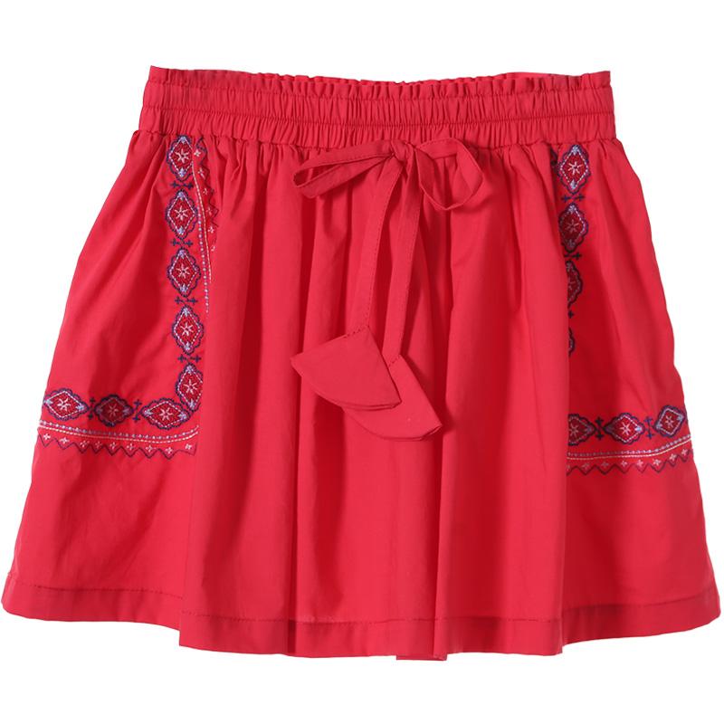 布布发现童装2018夏季新款女童刺绣半身裙中大童绣花百褶裙A字裙
