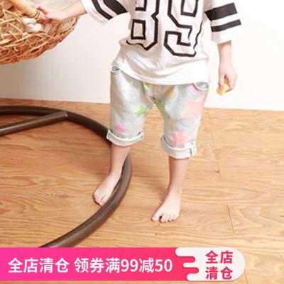 韩国童装2018夏款中性彩色星星儿童休闲哈伦裤卷边儿童7分牛仔裤