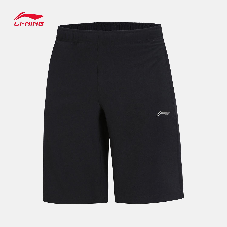 李宁运动短裤男士2018新款训练系列男装薄款梭织运动裤AKSN247