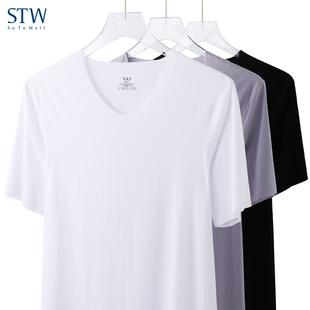V领上衣外穿 男士 薄款 夏季青年纯色打底衫 STW莫代尔冰丝t恤男短袖