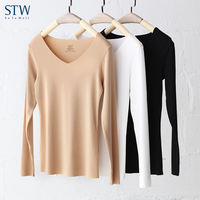 STW new modal ladies thermal underwear seamless V-neck bottoming shirt long-sleeved women's T-shirt single-piece wearing autumn clothes