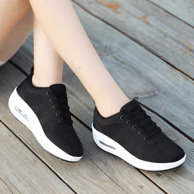 18夏季新款镂空飞织网面透气垫运动鞋休闲鞋厚底增高摇摇鞋子女鞋