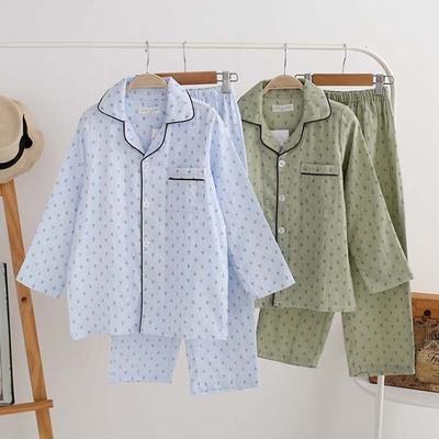 男孩全棉家居服男童双层纱布睡衣长袖薄款春夏款对襟纯棉柔软套装