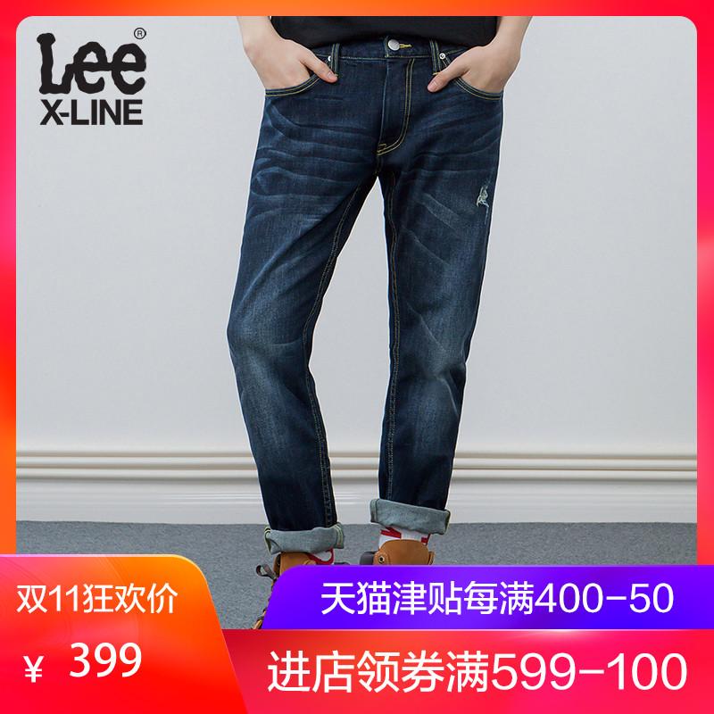 Lee男装蓝色破洞直筒牛仔裤L127263QJ8MY,新款lee牛仔裤