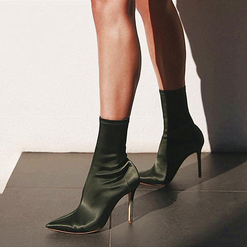 明星同款秋冬袜靴高跟欧美性感细跟瘦腿弹力靴女百搭尖头中筒短靴