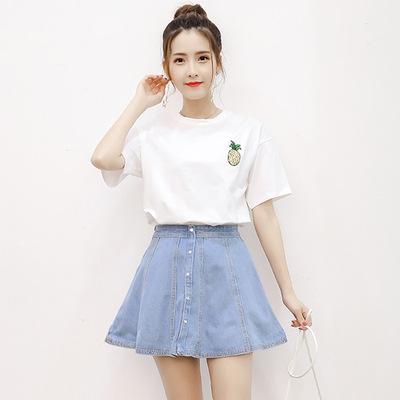 裙子夏女2018新款时尚显瘦牛仔短裙两件套装学生韩版小清新连衣裙