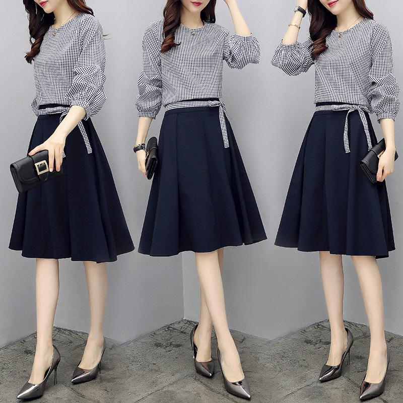 2018秋季新款女装时髦套装女韩版时尚上衣配裙子半身裙气质两件套