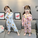 Children's Siamese Pajamas Spring and Autumn Baby Anti-cooling Air Conditioning Clothes Girls Cotton Long Sleeve One Year Old Baby Home Service