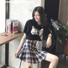 Chaobai irregular checked high grey pleated skirt suit pants skirt INS super-hot A-shaped high waist skirt to prevent smoothing