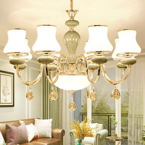 欧式水晶客厅吊灯现代简约奢华大气大厅简欧创意餐厅灯陶瓷卧室灯