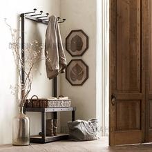loft美式铁艺实木衣帽架复古门厅换鞋凳包包架落地式挂衣架挂包架