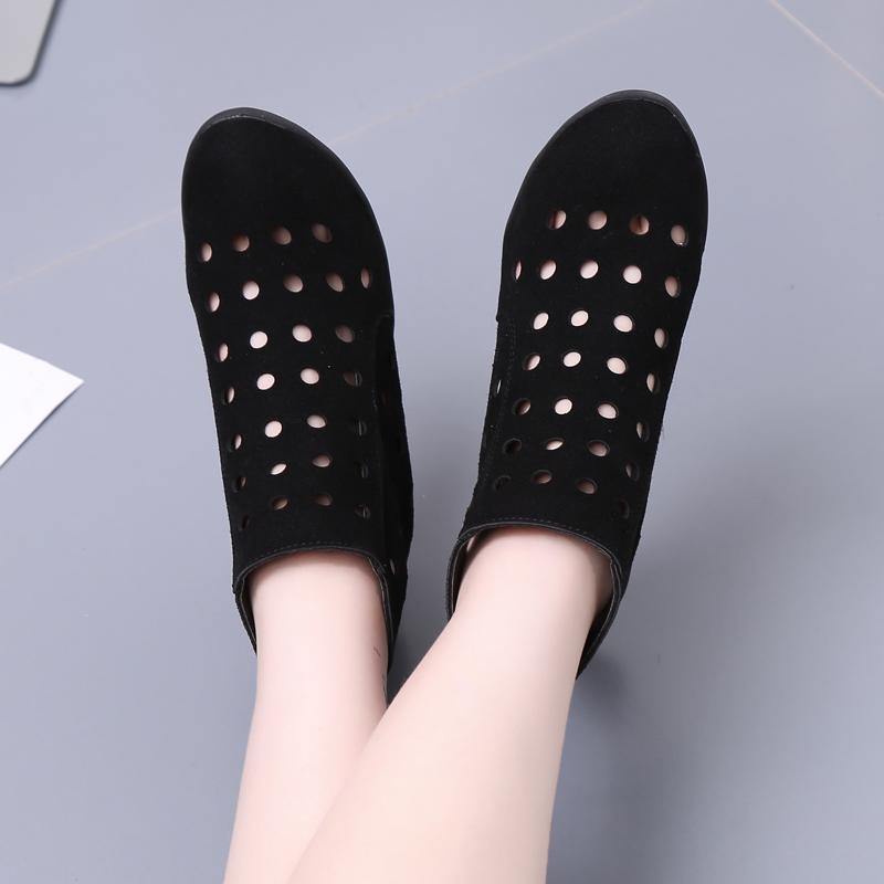 春夏天牛皮短靴女洞洞靴磨砂皮镂空单靴中跟休闲女鞋坡跟跳舞女靴
