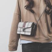 上新小包包女2018新款韩版潮chic链条包呢子小方包百搭单肩斜挎包
