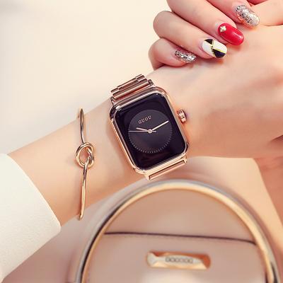 时尚潮流方形表盘钢带手表女韩版简约气质女士时装表防水石英腕表年货节折扣