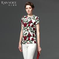 2016夏季新款大码女装衬衣女名人瑞裳气质印花圆领短款衬衫女短袖