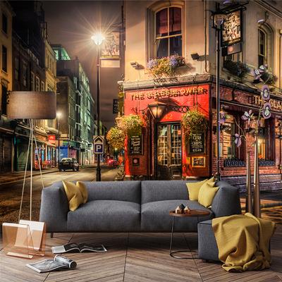欧洲小镇街景壁画酒吧咖啡厅墙纸清吧壁纸客厅卧室背景墙无缝墙布最新报价