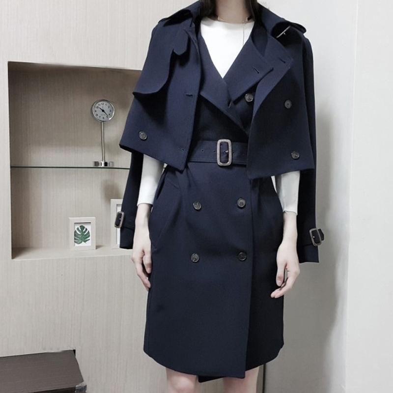 秋装2019年新款韩版修身显瘦中长款风衣女双排扣马甲套装两件套
