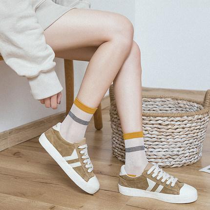 春夏韩版原宿条纹中筒透明水晶玻璃丝中筒女袜子韩国新款学院丝袜