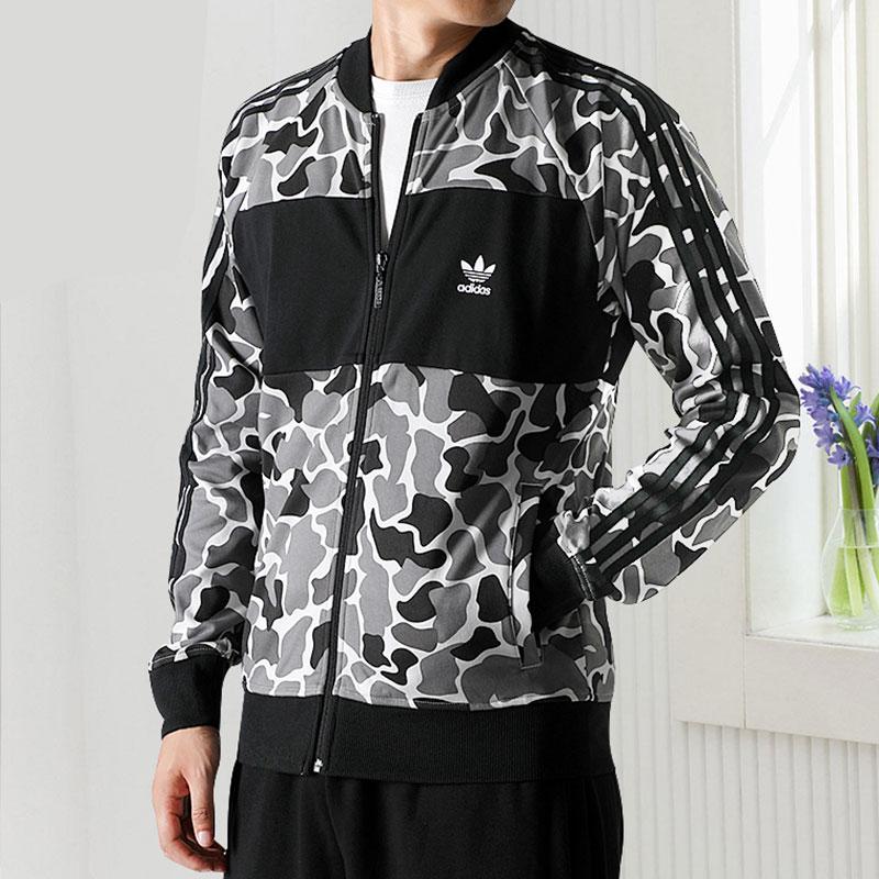 阿迪达斯三叶草男装外套2018秋季迷彩棒球服运动服休闲夹克DN8036