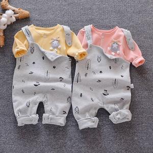 1-3岁儿童背带裤春秋装婴儿长裤子3-6-9个月男女宝宝护肚纯棉韩版