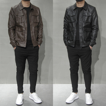 Spring 2019 New Leather Jacket, Men's Multi-pocket Topcoat, Korean Edition, Slim Leather Jacket