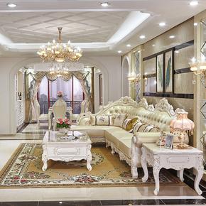 奢华欧式真皮沙发转角L型大小户型高档实木雕花沙发客厅美式家具