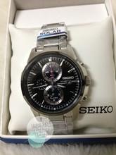 美国代购 精工seiko SSC087黑色表盘不锈钢男士石英表手表