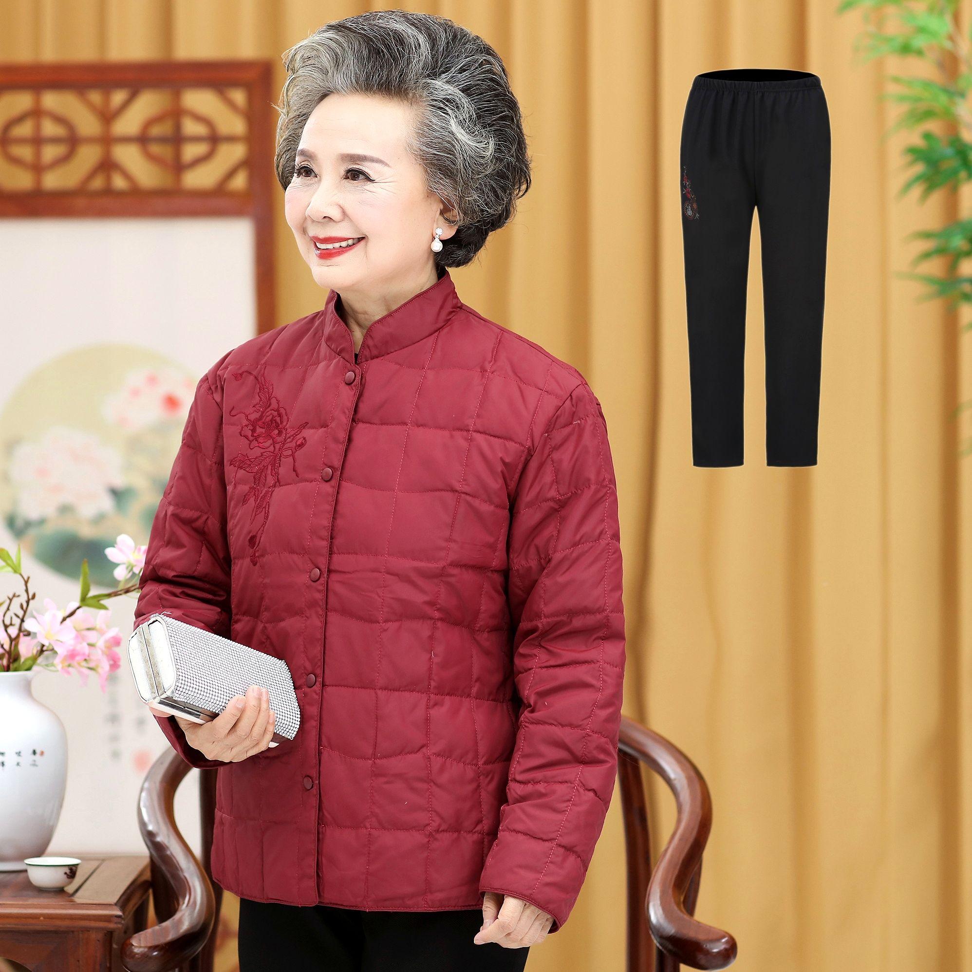 秋冬外套 中老年女式小棉袄羽绒棉服内胆老年人保暖棉服奶奶装 新款