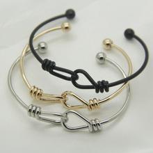 扭结双扣铜手镯 可调节 绳结打结 时尚 欧美